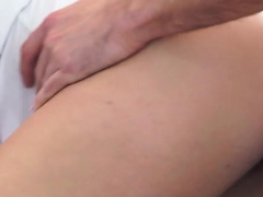 Cum hungry blonde Kate England uses her big areola tits and