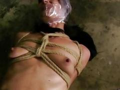 Kinky girl got tied up with a long rope BDSM