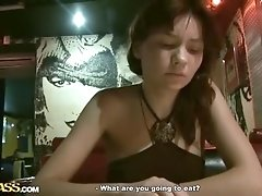 Girl showing tits and playing in café toilet