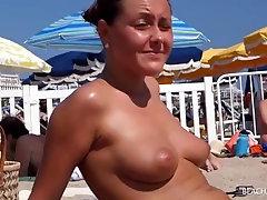 stellar honeys with gigantic inborn milk cans out on public beach