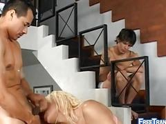 Blonde shemale can barely gets hard and gets pounded instead