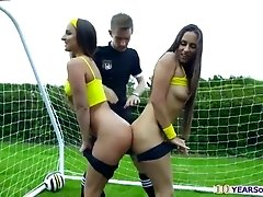 Bubble booty soccer babes gets anal ravaged in the field