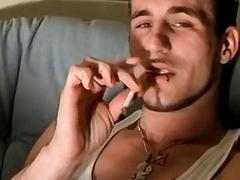 Straight young man strips down to jerk off and smoke