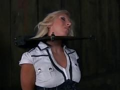 Busty blonde slave in extreme and cruel punishment session BDSM