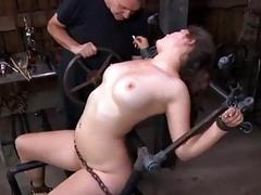Caged slut Charlotte Vale toyed pretty rough by BDSM master