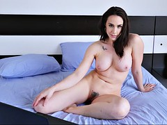 chanel preston watches porn on laptop and plays with herself