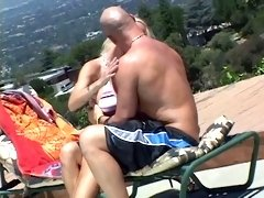 Bald dude eats hot MILF pussy then she sucks and titty-fucks his hard cock