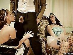 Pornographic costume drama with maid sucking dick