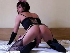 Hung Russian crossdresser fucks his ass with a big dildo