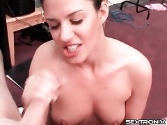 Slut on her knees sucks and jerks off dick