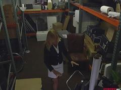 Blonde milf fucked in storage room