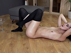 Naughty babe pees all over the place and masturbates