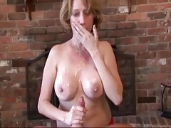 Her handjob milks his huge cream