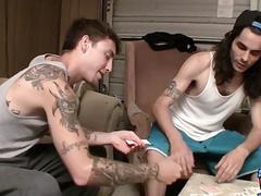Tattooed straight guys tugging hard after strip poker