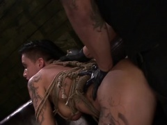 Muffled slut gets both holes filled by big ramrod