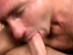 Lovely gay Eric sucking and fucking two impossible schlongs