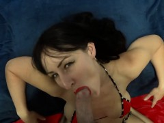 Large dick eyecontact BJ and cosmetic