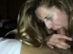 Blonde girlfriend sucking on his schlong