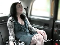 Babe with facial piercings in fake taxi