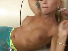 Blonde shemale grinds and then sucks her lovers tight cock