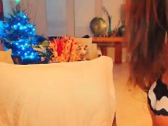 Busty sexy brunette teen doll teases on webcam