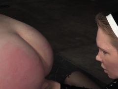 Dominated sub strapon fucked by femdom