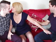 Hot British mom cum covered by young sons