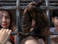 Hotty receives castigation for her horny bald cunt