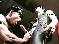 Gay leather video with hot oral sex