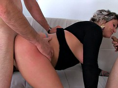 Fat milf with short hair loves two cocks in her holes