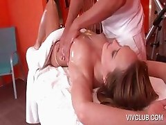 Naked babe getting full body massage