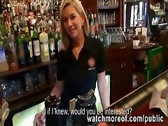 Gorgeous blonde barmaid sucks cock and fucked for cash