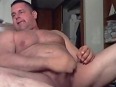 Beefy coach shooting a huge load