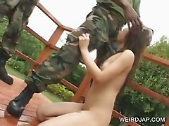 Asian slave mouth fucked in gangbang
