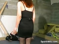 Tied guy gets his butt spanked part2