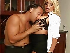 Sexy blonde secretary with big boobs get a dick