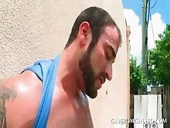Outdoor interracial gay oral sex