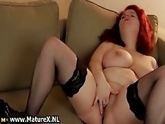 Redhead busty housewife with big melons part2