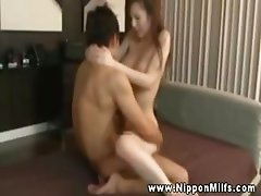 Asian milfs blows him to get him hard enough for fucking