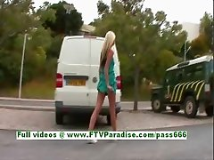 Suzanna angelic blonde babe public flashing tits and ass