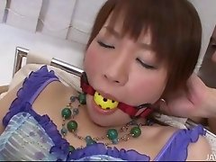 Japanese angel Kana Mimura gagged and toyed until she squirts