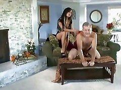 Hot brunette Angelina Valentine rides a brimming boner with her juicy snatch