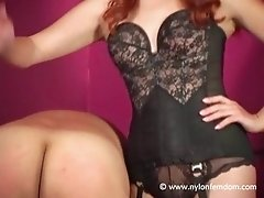 Mistress in nylon stockings spanking