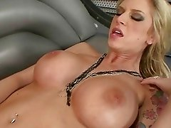 Turned on blonde lesbians with huge puppies using dildo and strapon