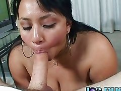 Chubby woman doing a deep throat