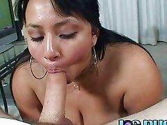 Chubby woman doing a deep throat