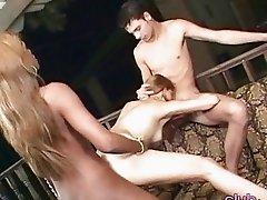 Ebony TS deep screwed girl in threesome