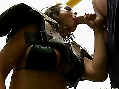 Hot female football player gives fantastic blowjob