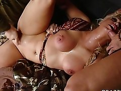 Busty blonde wench getting roughly double fucked